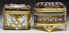 TWO MOSER DECORATED DRESSER BOXES.