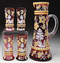MOSER DECORATED LEMONADE SET.