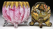 TWO MOSER MINIATURE VASES.