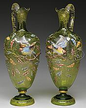PAIR OF MOSER APPLIED & ENAMELED EWERS.