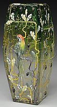 MOSER DECORATED PARROT VASE.