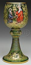 LARGE MOSER DECORATED CHALICE.