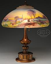PAIRPOINT REVERSE PAINTED SCENIC LAMP.