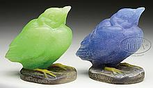 TWO A. WALTER PATE DE VERRE BIRDS.