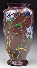 BURGUN & SCHVERER CAMEO AND ENAMELED VASE.