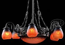 SCHNEIDER INTERNALLY DECORATED CHANDELIER.