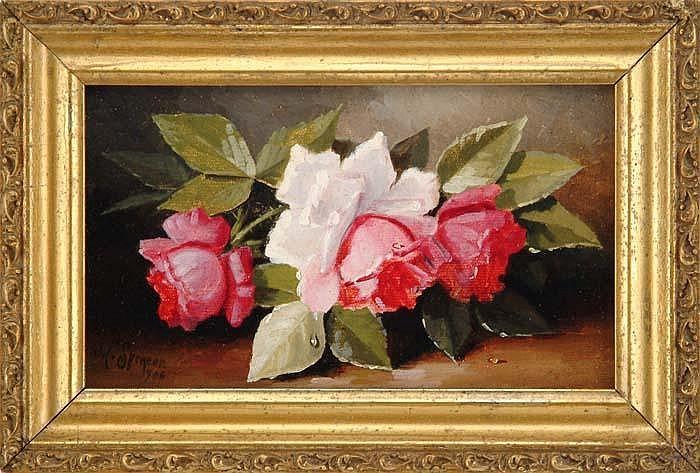 JOHN CLINTON SPENCER (American, 1861-1919) STILL LIFE OF ROSES