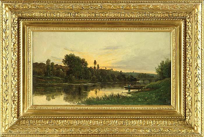 HENRI FRANCOIS PERRET (FRENCH 1825-?) LAZY RIVER WITH FIGURES