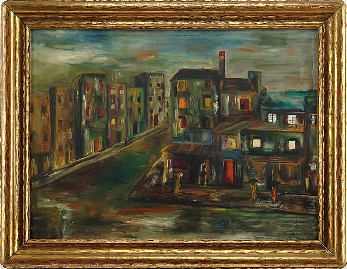 NILES SPENCER (American, 1893-1952) URBAN STREET SCENE