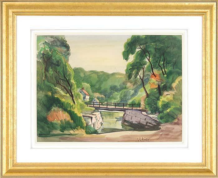 GEORGE LESTER HORNBY (American, 1882-1956) BRIDGE IN SUMMER LANDSCAPE