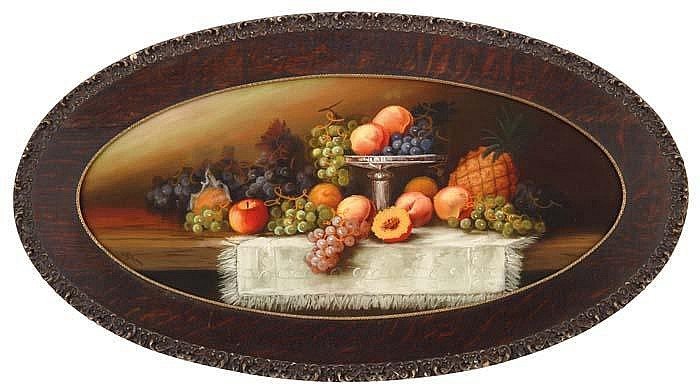 EDWARD R. SITZMAN (American, 1874-1949) PAIR OF OVAL STILL LIFES