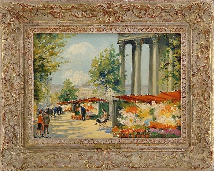 CHARLES BLONDIN (French, 1824-1897) EUROPEAN FLOWER MARKET