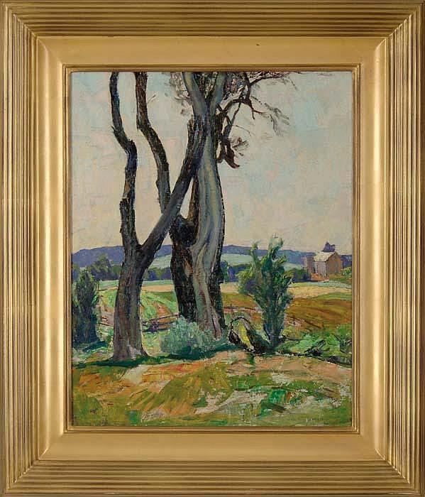 GEORGE G. ADOMEIT (American, 1879-1967) FARM IN SPRING 1940