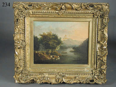 """OIL ON CANVAS LANSCAPE """"ADIRONDACKS"""" WITH COWS, PEOPLE, BOATS, CASTLE, AND MOUNTAINS BY THOMAS COLE (1801-1848)."""