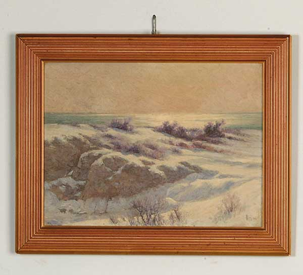 OIL ON CANVAS MAINE WINTER COASTAL SCENE BY JOHN CALVIN STEVENS. (1855-1940)