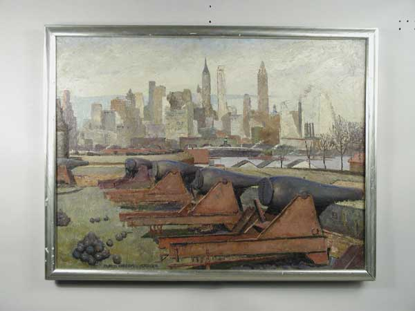 LARGE IMPORTANT OIL ON MASONITE VIEW OF NEW YORK SKYLINE FROM GOVENORS ISLAND BY FRANCIS VANDIVEER KUGHLER (1901-).