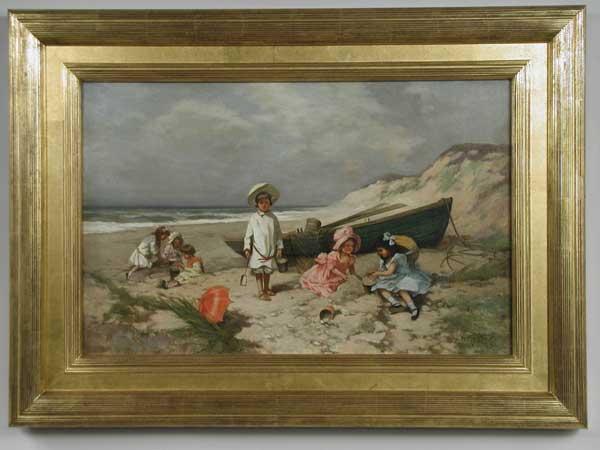 OUTSTANDING OIL ON CANVAS CHILDREN IN BEACH SCENE BY EDWARD PERCY MORAN (1862-1935).
