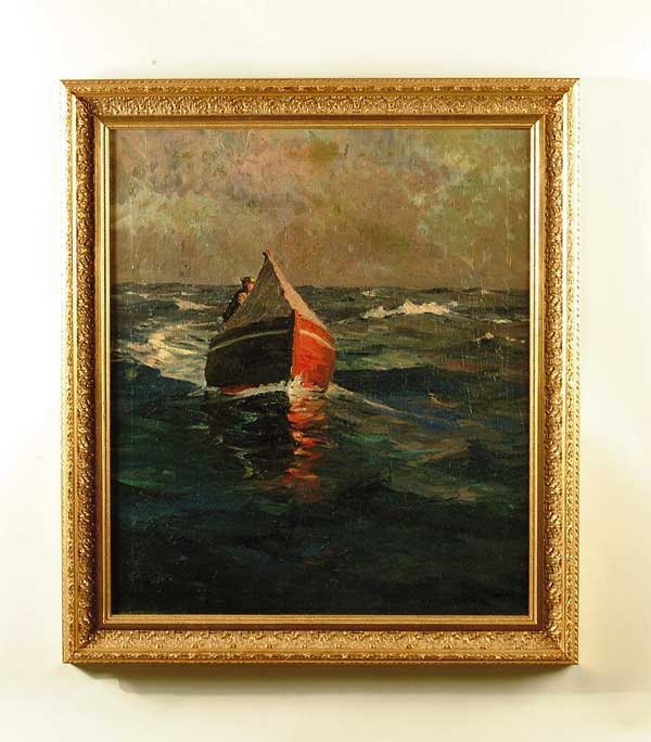 OIL ON CANVAS ENTERING THE HARBOR BY ALEXANDER BOWER (1875-1952).