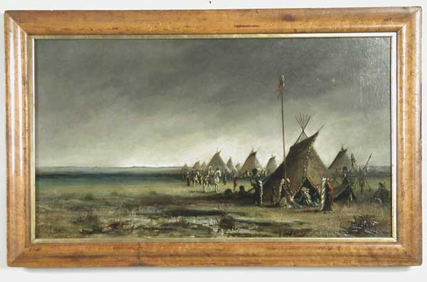 OIL ON CANVAS OF PLAINS INDIAN ENCAMPMENT BY ASTLEY DAVID MONTAGUE COOPER (1856-1924).