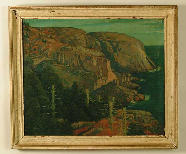 OIL ON CANVAS VIEW OF MONHEGAN ISLAND BY EMILE EUGEN HOLZHAUER (1887-1986).