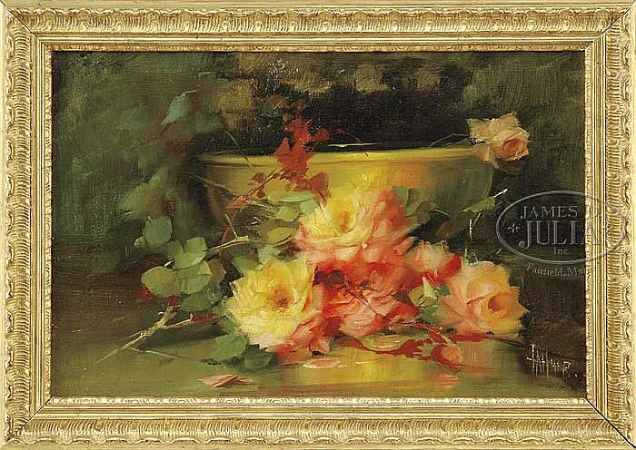 FLORINE H. HYER (American, 1868-1936) YELLOW BOWL WITH ROSES.