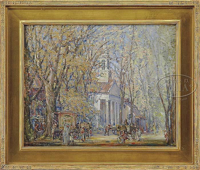 FREDERICK USHER DEVOLL (American, 1873-1941) STREET ACTIVITY NEAR CHURCH, NEW ENGLAND.