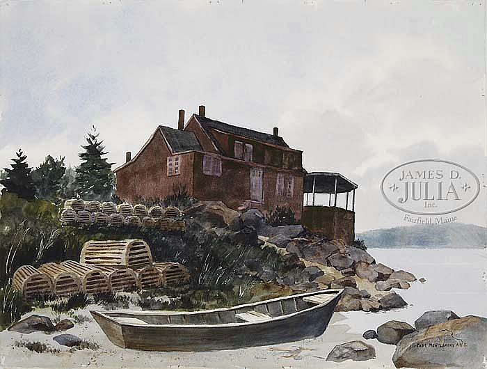 PAUL MONTGOMERY (American, Mid 20th Century) THREE WORKS: COASTAL MAINE SCENES.