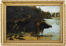 ATTRIBUTED TO PHILIP RUSSELL GOODWIN (American, 1882-1935) MOOSE IN MAINE LANDSCAPE.
