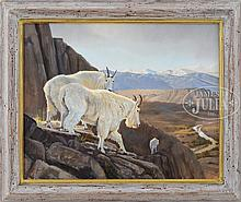 """GRANT HACKING (American, 1964-) """"ON THE VERGE-MOUNTAIN GOATS""""."""