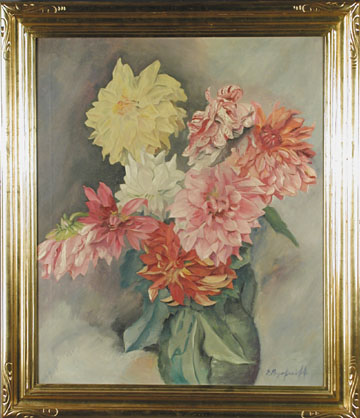 OIL ON CANVAS STILL LIFE OF FLOWERS BY EUGENE AGAFONOFF.