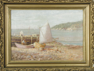 OIL ON CANVAS SAILING REGATTA OFF GRAND MANAN ISLAND BY WALTER P. GRIFFIN.