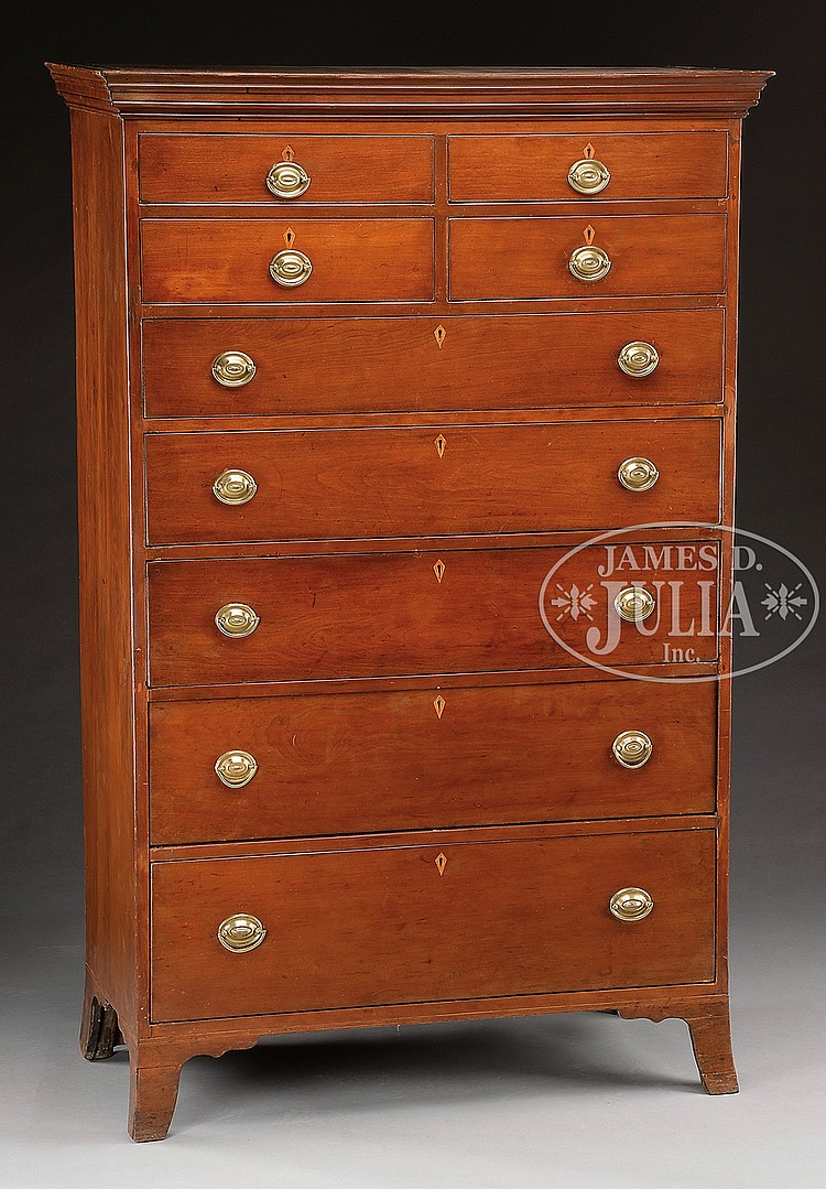 Large Federal Cherry Tall Chest Of Drawers