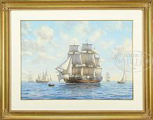 ROY CROSS, RSMA (British, b. 1924) SHIPPING ALONG THE SWEDISH COAST.