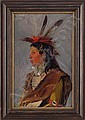 OIL ON CANVAS OF INDIAN BRAVE BY RICHARD LORENZ  (1858-1915), Richard Lorenz, Click for value