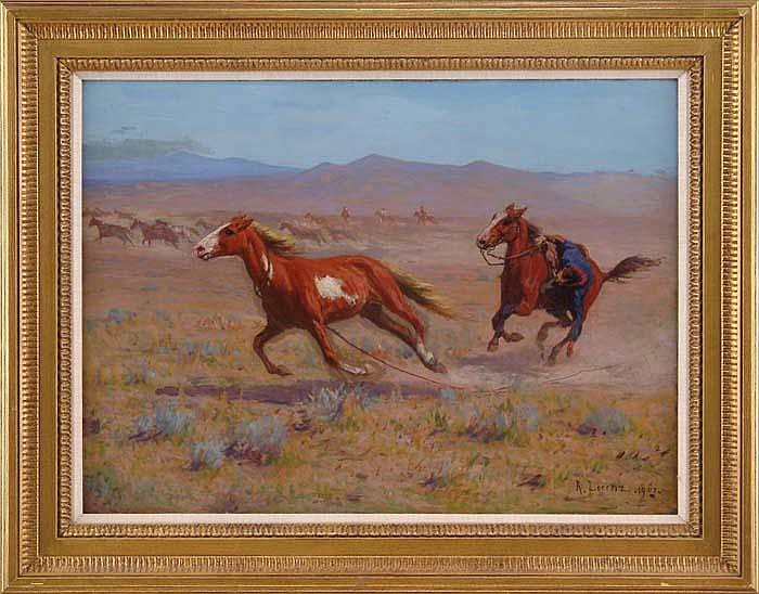OIL ON CANVAS OF COWBOY BY RICHARD LORENZ  (1858-1915)