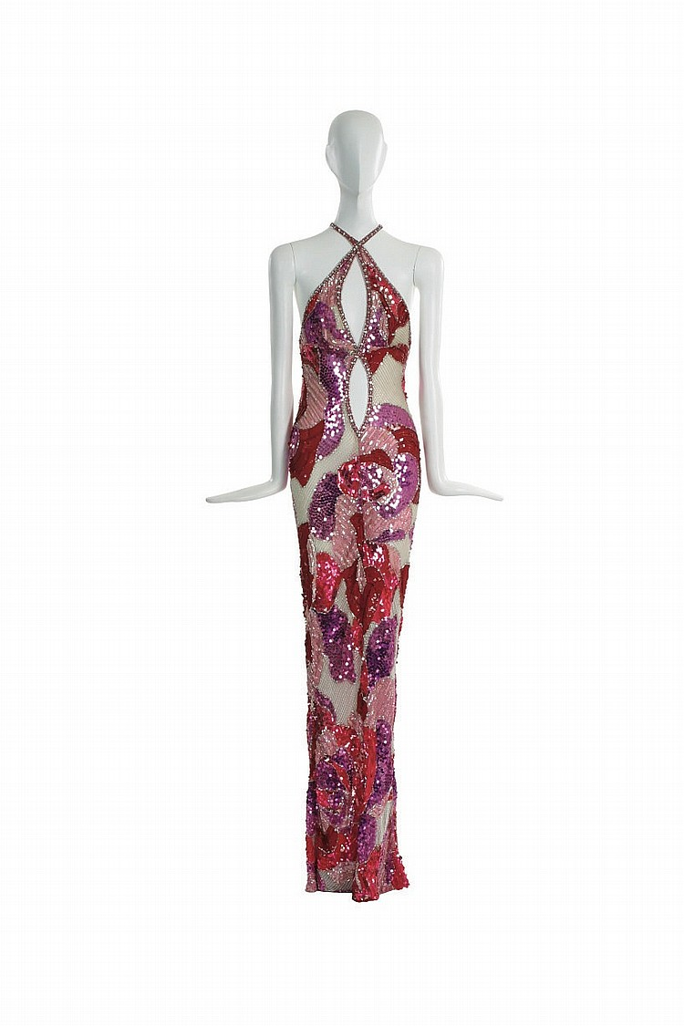 CHER: A BOB MACKIE FLORAL BEADED GOWN