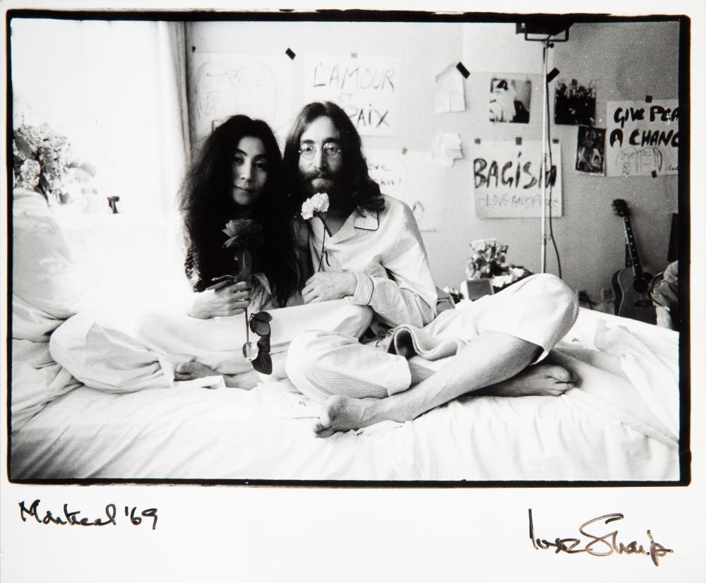 John Lennon And Yoko Ono Original Bed In Photograph Signed B