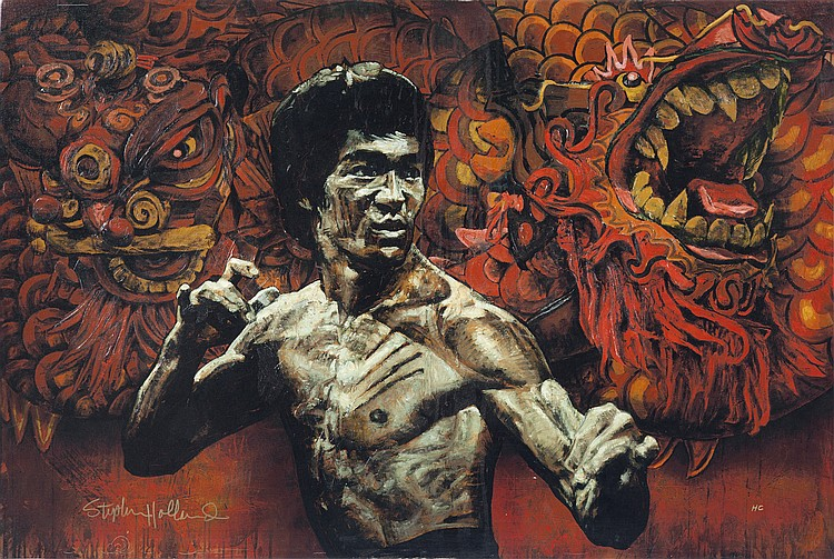 BRUCE LEE GICLÉE BY STEVEN HOLLAND (AMERICAN, B. 1941)