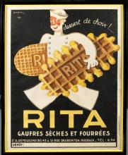 EARLY 20TH CENTURY POSTER FOR RITA WAFFLE COOKIES