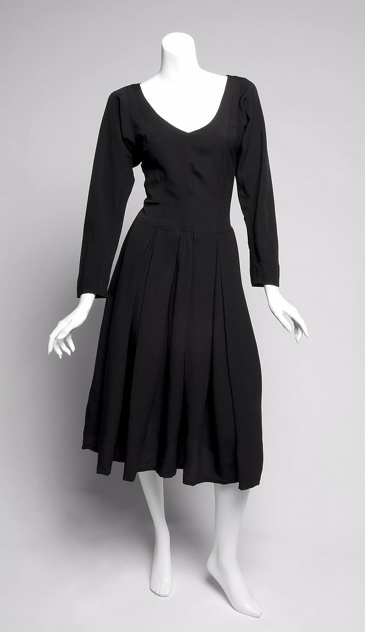 GRETA GARBO BLACK SILK DRESS