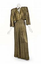 LINDA DARNELL HOTEL FOR WOMEN GOLD LAMÉ GOWN