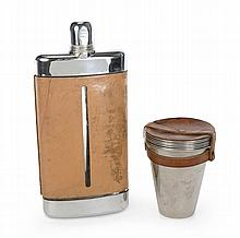 GRETA GARBO LEATHER BOUND FLASK AND FIELD CUPS