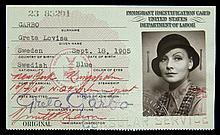 GRETA GARBO UNITED STATES IMMIGRANT IDENTIFICATION CARD