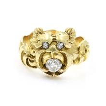 Art Nouveau Diamond in 14k Gold Lion Ring