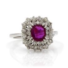 Diamond Ruby 18K White Gold Cluster Ring