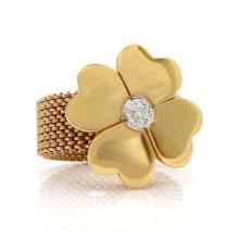 Italian, Diamond Vermeil Flower Ring
