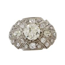 Art Deco Old Mine Diamond Platinum Ring