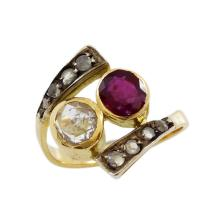 Diamond & Ruby 18K Yellow Gold Ring