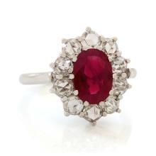 Ruby & Diamond 18K White Gold Ring