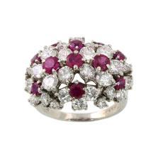 Oscar Heyman Diamond & Ruby Platinum Cluster Ring